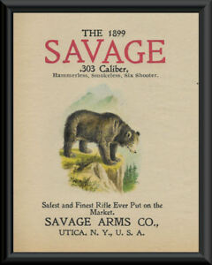 1899 Savage Rifle Hunting Advertisement Reprint On 90 Year Old Paper 096