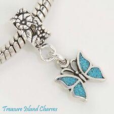 BLUE BUTTERFLY .925 Sterling Silver EUROPEAN EURO Dangle Bead Charm