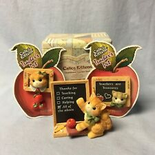 Calico Kittens Teacher's Pet Figurine, Pin and Earring Set and Magnet Nos