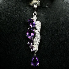 NATURAL PURPLE AMETHYST & WHITE CZ PENDANT 925 STERLING SILVER