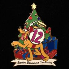DISNEY PIN - PLUTO Twelve Drummers Drumming 12 Days Christmas Gold-Plated LE 12
