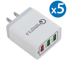 5x 30W 3-Port USB Wall Charger Dual Quick Charge 3.0 Ports For iPhone Samsung LG