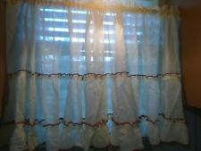 Vintage 2 pc Sheer Ruffly Kitchen Curtains Cream Embroidery Rust Brown trim