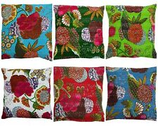 Indian Handmade Cushion Fruit Print Cover Sofa kantha Throw Ethnic Pillow Decor