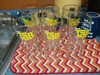 Vtg 70's Enjoy Tab Drinking Glasses Hourglass Shape - Set of 6
