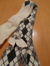 BNWT MP cream tights with a grey and dark grey diamond patern up the leg age 8/9