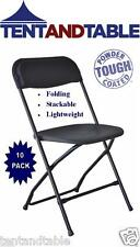10 Black Stacking Chairs Easy Storage Wedding Day Party Holiday Folding Chair