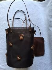 PRADA VERY RARE VINTAGE BUCKET BAG w LEATHER FLORETS & WALLET - ADORABLE!!