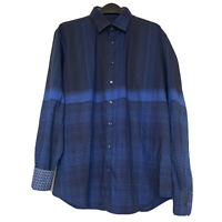 Bugatchi Men's XL Shaped Fit Button Up Spread Striped Flip Cuff Shirt Blue EUC