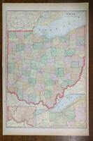 "Vintage 1902 OHIO Atlas Map 14""x22"" Old Antique Original FREMONT SANDUSKY TOLEDO"