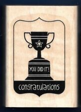 YOU DID IT CONGRATULATIONS Trophy CUP word Gift TAG IT Stampin' Up! RUBBER STAMP