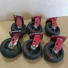 Lot Of 6 Used Faultless Plate Swivel Caster Wheels 6 Inch X 2 Inch Heavy Duty