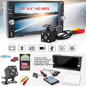 """6.6"""" Touch Screen 2 DIN Bluetooth Car MP5 Media Player With Rear Camera FM Radio"""