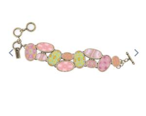 NEW JILZARAH Handmade Clay Bead PINK SALT COBBLESTONE TOGGLE Bracelet