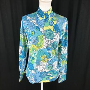 Athleta 1/4 Zip Pullover Jacket Athletic Top Size M Floral All Over Art to Wear