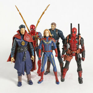 5Pcs/Set Marvel Avengers Captain Spider Man Doctor Strange Action Figure Model