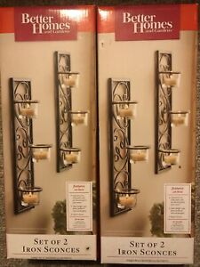 2 Wall Sconce sets Tealight Black Wrought Iron Better Homes & Gardens New