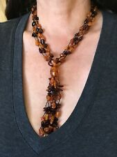BEAUTIFUL ANCIENT CHERRY & COGNAC GOLDEN AMBER Y-NECKLACE with TASSEL