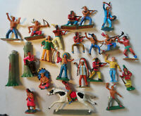 LOT DE FIGURINES STARLUX VINTAGE, INDIENS, CHEVAUX , TOTEMS