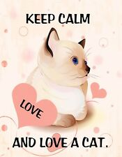 METAL MAGNET Keep Calm And Love A Cat Kitten Hearts Humor MAGNET