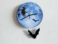 Witch On Blue Moon - Halloween Bat Pendulum - Wall Clock