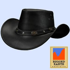 Lederhut Australischer Stil Hut Western Leder Cowboy Regen Outdoor *053 bl