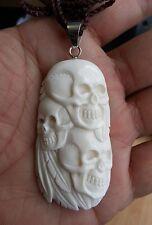 Tribal Native Chief Skulls Heads Buffalo Bone Hand Carving Silver Bale Pendant