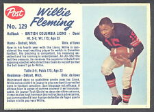 1962 POST CFL FOOTBALL 129 WILLIE FLEMING  B C LIONS NM UNIV OF IOWA CARD