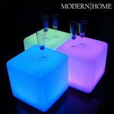 """NEW! LED COLOR CUBE OTTOMAN/STOOL/END TABLE - 16"""" LIGHT CHAIR - GLOWING BOX"""