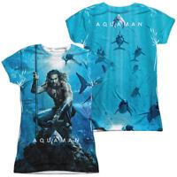 Authentic DC Comics Aquaman Movie Poster Sublimation FRONT BACK Ladies T-shirt
