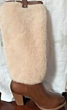 """NEW~UGG WOMEN'S SZ US 8~""""AVA"""" CHESTNUT BROWN LEATHER EXPOSED FUR BOOTS~1013677"""