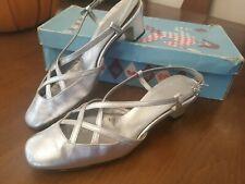 Vintage Coquette Silver Criss Cross Sling Back Block Heels Size 5
