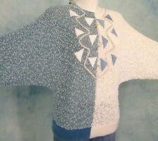 ITALiAN 80s VtG BATWiNG OVERSiZED KNUBBY KNiT HARLEQUiN LEATHER SEQUiN SWEATER L