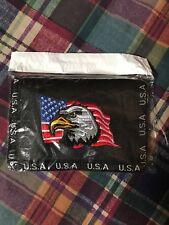 Men's USA  Patriotic Eagle Tri Fold Wallet with Velcro & Zipper Pockets Black