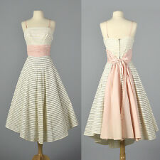 XS 1950s White Party Dress Sheer Mesh Stripes Sleeveless Full Skirt Pink 50s VTG