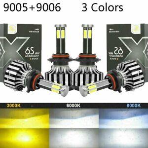 4X 9005 HB3 + 9006 HB4 6-sides LED Headlight Kit High Low Beam 6000K White 120W