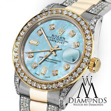 Ladies 26mm Rolex Oyster Perpetual Datejust Custom Diamonds Baby Blue