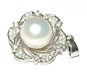 Massive Edison Natural White Round 9.5-10mm Cultured Pearl Flower Design Pendant