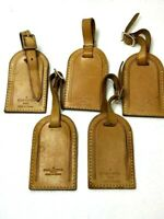 Auth LOUIS VUITTON Name Tag 5 Piece Set Brown Leather for Bag France ⑥