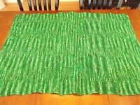 "GREEN AFGHAN BLANKET Vintage GRANNY Handmade Crochet Quilt Throw 35""x47"""