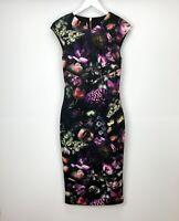NEW Ted Baker Dress UK Size 8 10 Shift Black Detailed Floral Womens
