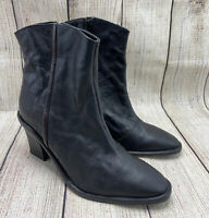 Free People Black Leather Side Zipper Pumps Above Ankle Boots Women's 39 US 8.5
