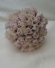 DUSKY VINTAGE BLUSH PINK ROSES GYPSOPHILLIA HESSIAN  BOUQUET WEDDING FLOWERS