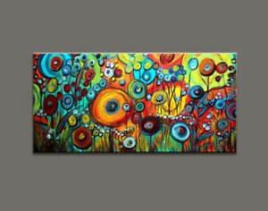 "AA315 Home decor art Large abstract oil painting Hand-painted on canvas 24""x48"""