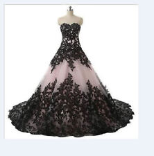 2018 Black/White/Ivory Wedding Dress Lace applique Bridal Gown Custom Size 4-26+