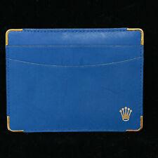 Genuine Gold & Blue Leather Rolex 3 Pocket ID Card Holder Thin Wallet Vintage