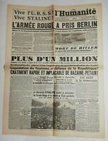 N670 La Une Du Journal L'humanité 3 mai 1945 l'armée rouge a pris Berlin