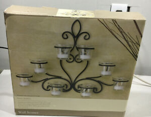 """Home Trends Wall Sconce Black Scrolled Iron Uses Tealight Candles 12"""" Tall Open"""