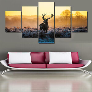 5 Panels Unframed Deer Art Oil Canvas Painting Picture Printed Wall Hanging Room
