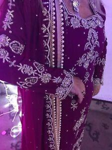 Purple Asian Heavy Jewelled Diamante long Salwar Kameez pajama suit sz 36 10